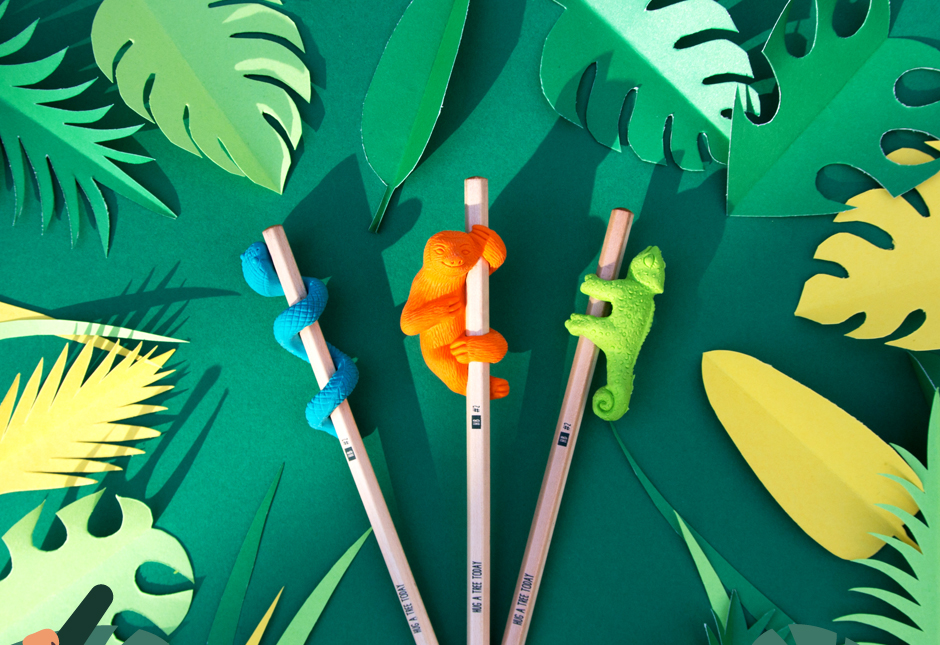 Jungle Eraser And Pencil Sets On Grass