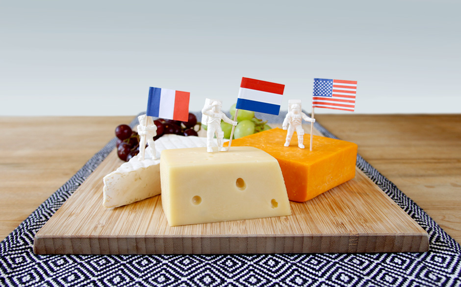 ASTRONAUT FOOD FLAGS ON CHEESEBOARD