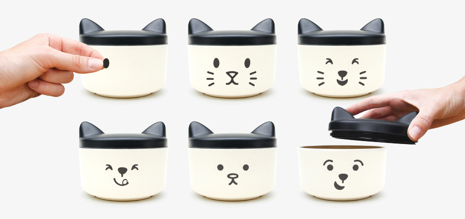 PET TREAT BOWL with many faces