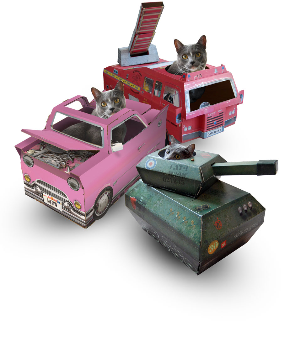 cat toys irresistible cardboard toy vehcles for cats. Black Bedroom Furniture Sets. Home Design Ideas