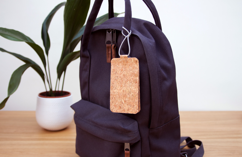 Cork Luggage Tag on Backpack