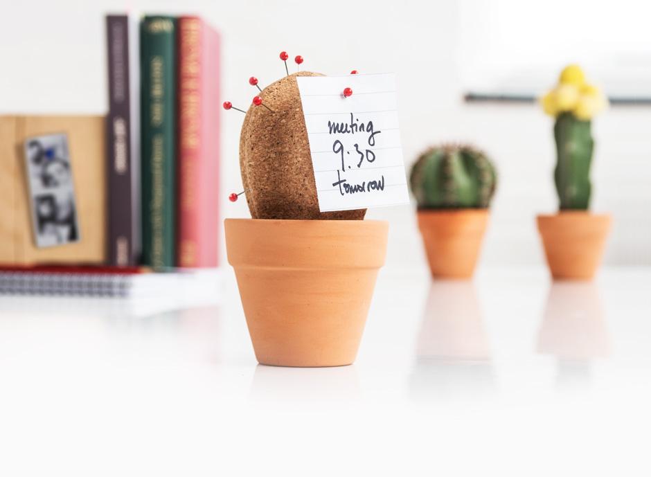 Cork Cactus : Prickly Desktop Organiser.