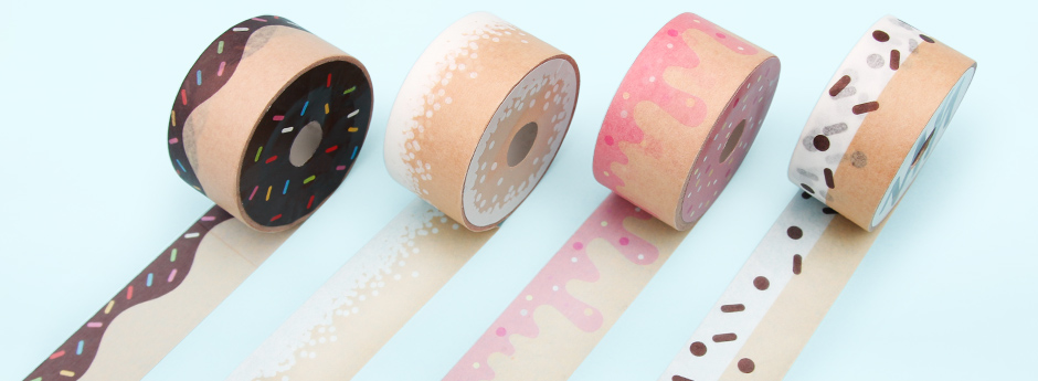 Doughnut tapes rolled out in a row