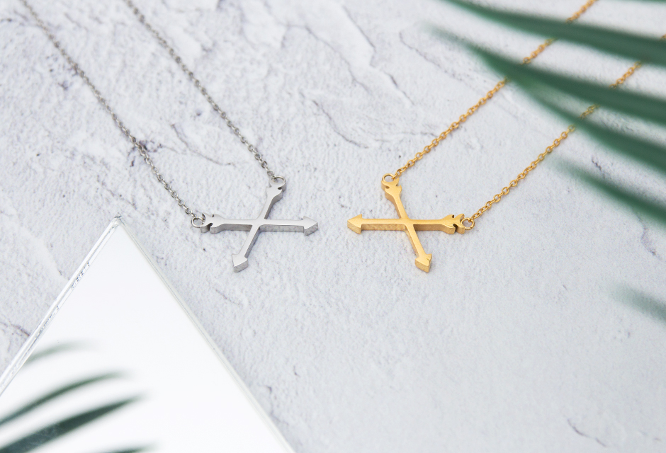 KUKU Gold and Silver Arrow Necklaces