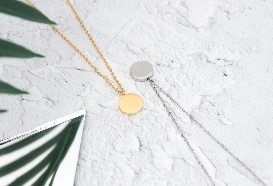 KUKU Gold and Silver Circle Necklaces