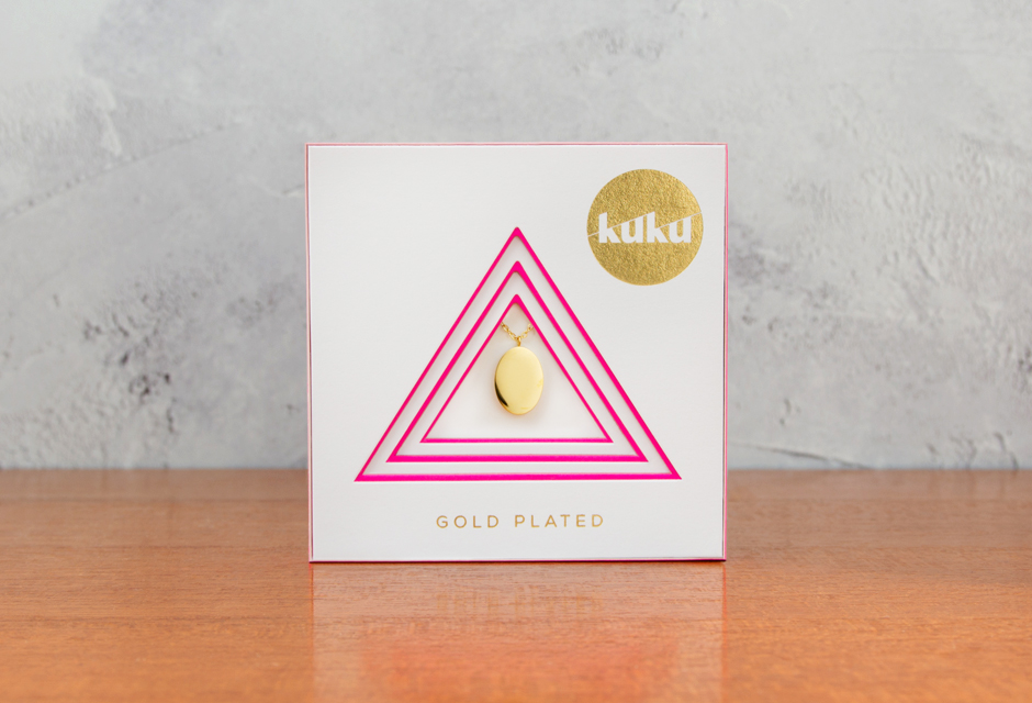 KUKU Gold Oval Necklace In Pack