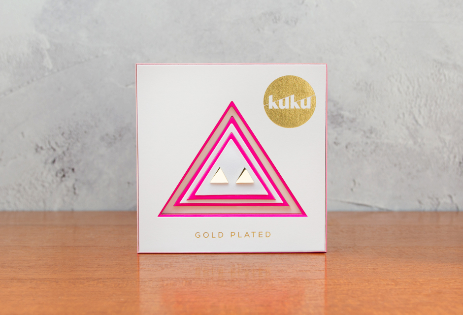 KUKU Gold Triangle Earrings In Pack