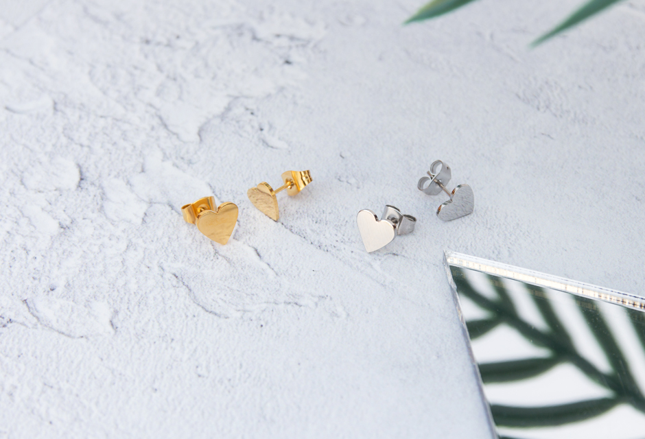 KUKU Gold and Silver Heart Earrings
