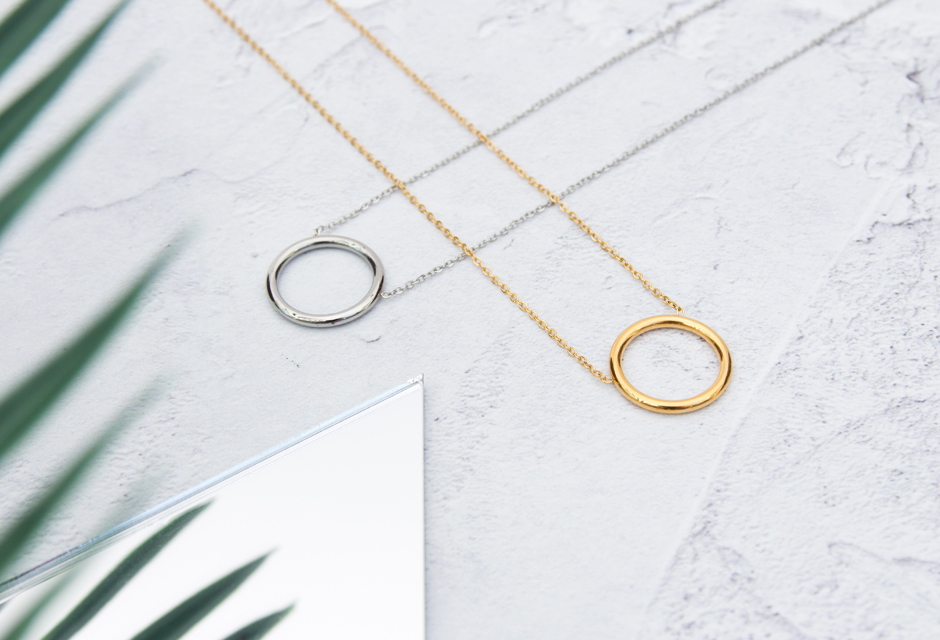 KUKU Gold and Silver HoopNecklaces