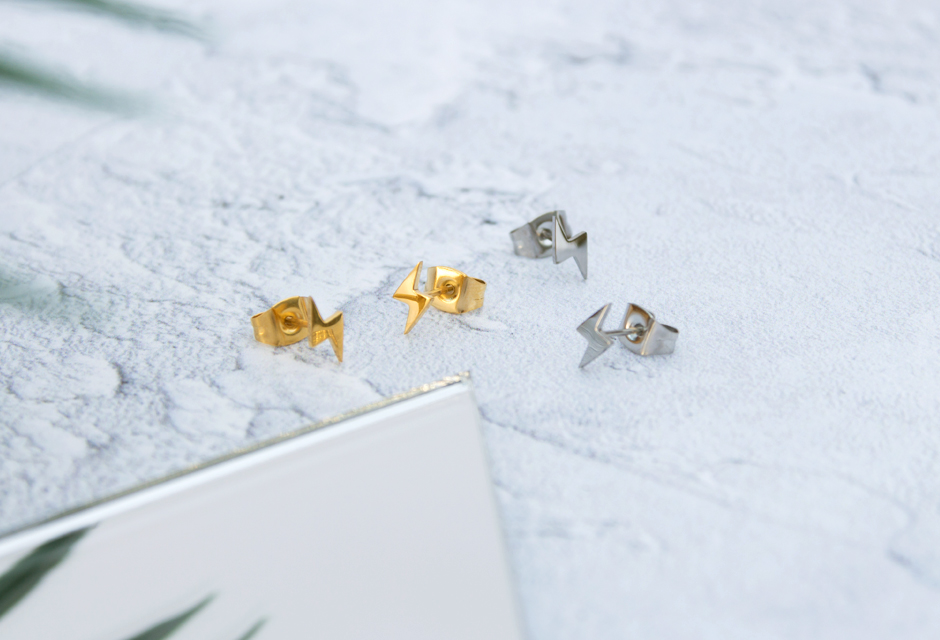 KUKU Gold and Silver Lightning Earrings