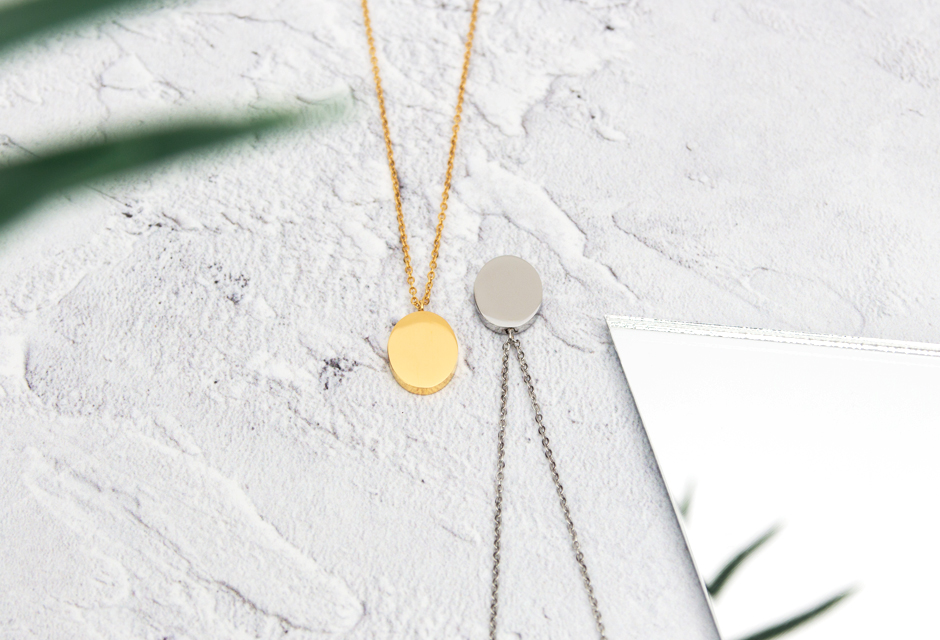 KUKU Gold and Silver Oval Necklaces