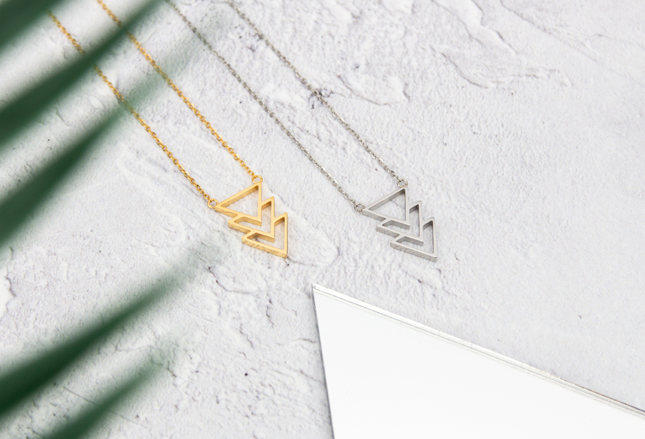 KUKU Gold and Silver Triangle Necklaces