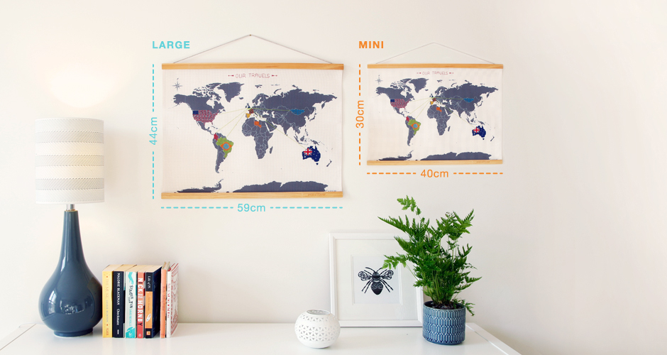 large and mini cross stitch maps with dimensions