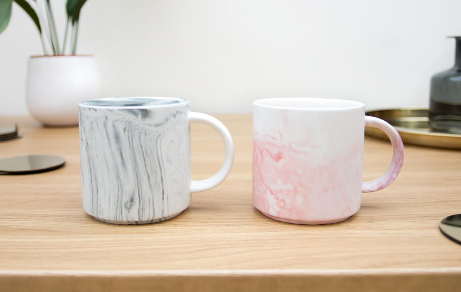 Marble Effect Mugs Grey and Pink