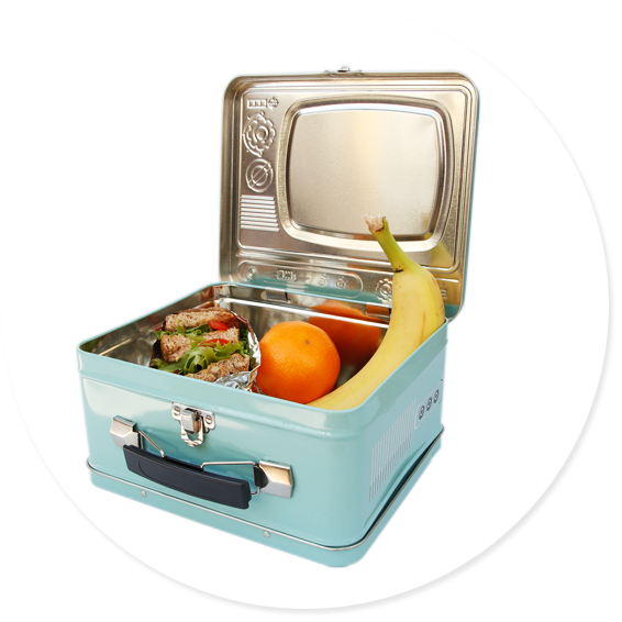 blue tv lunchbox open with packed lunch