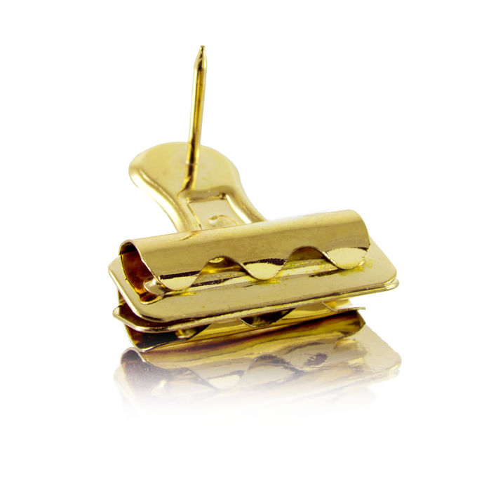 Gold push pin clip