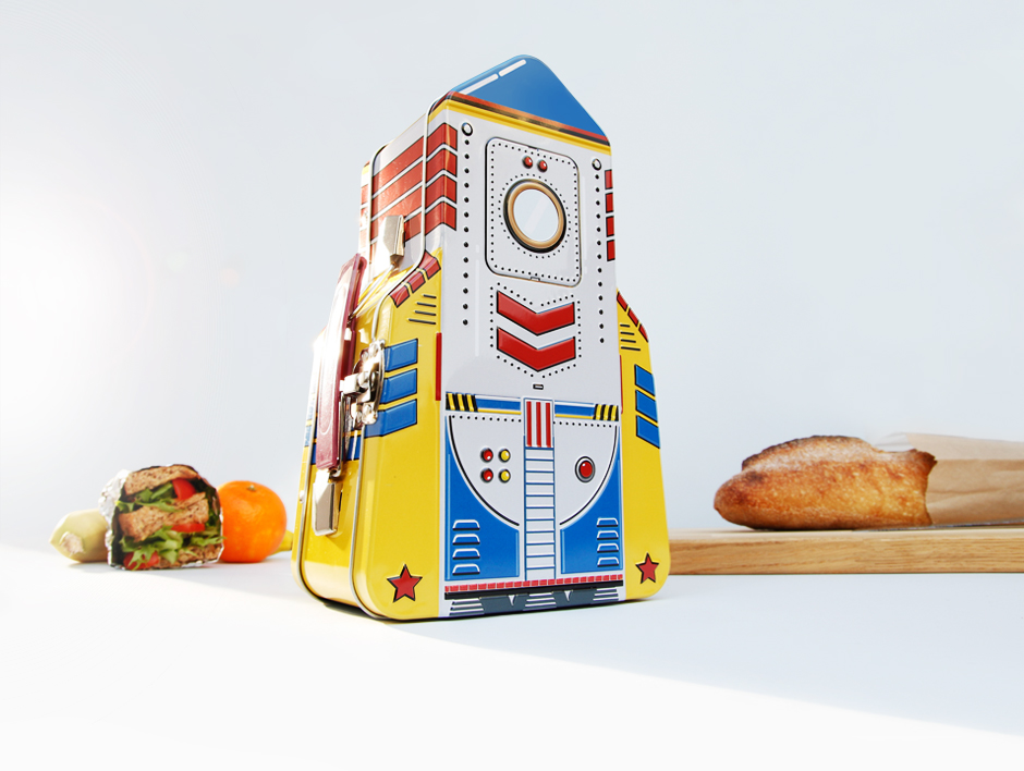 Rocket lunch box in kitchen with bread and packed lunch