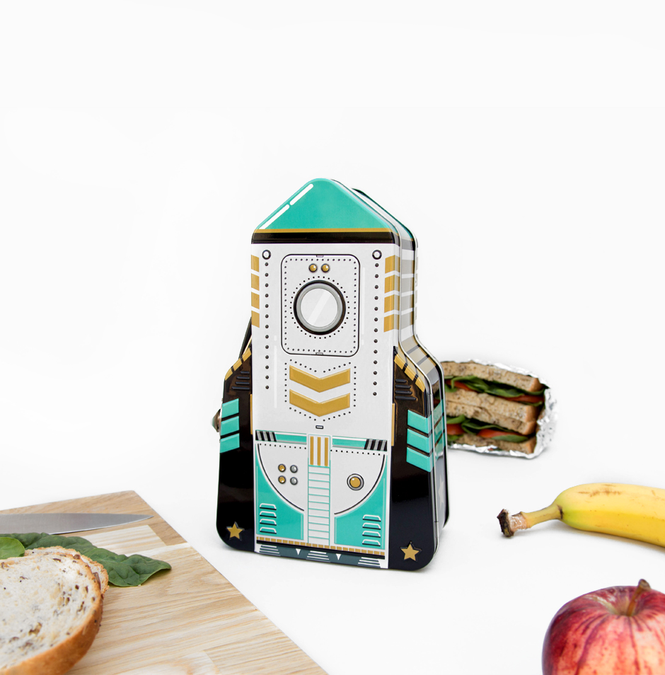 Green black and gold tin rocket lunchbox