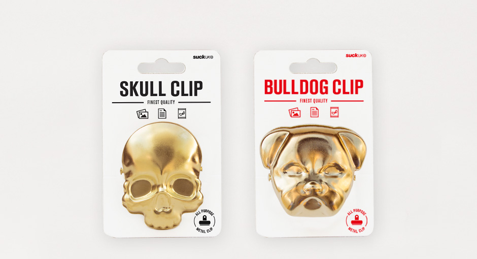 Skull and bulldog clip in packaging