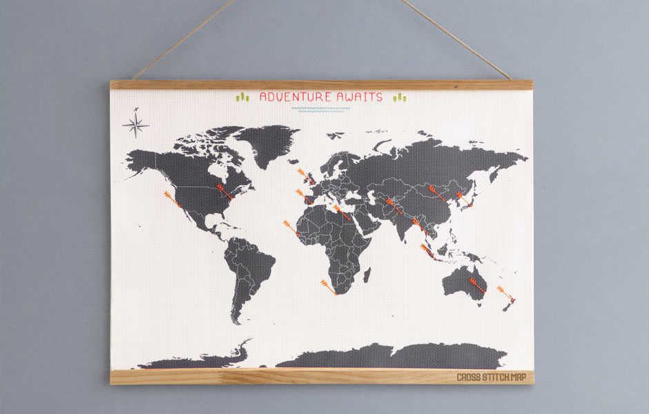 Cross stitch map sew your way around the world gumiabroncs Gallery