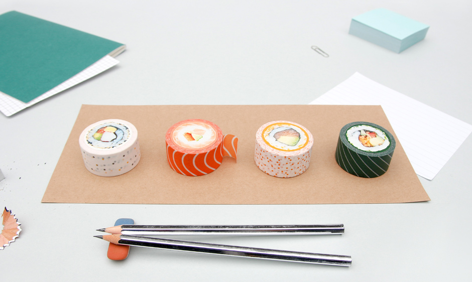 Sushi washi tape on a desk with pencil chopsticks