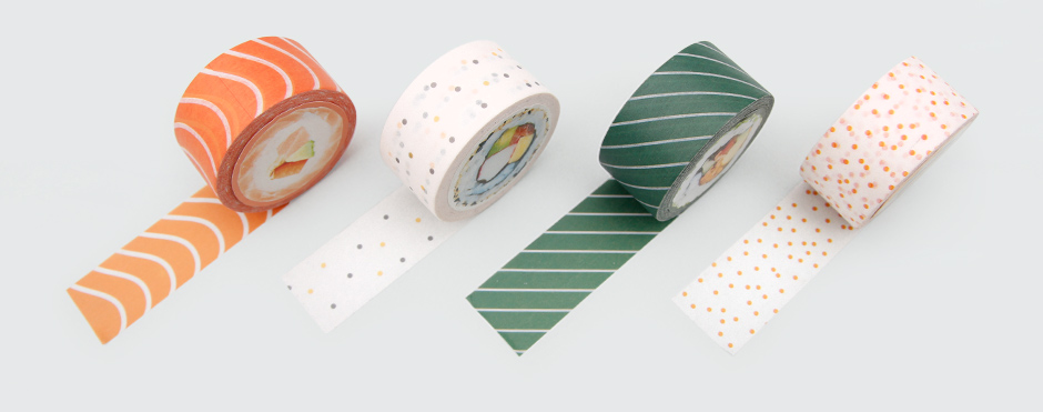 Sushi tapes rolled out in a row