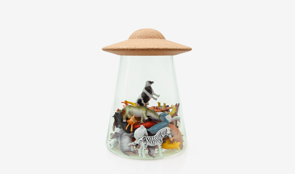 UFO Storage Jar Filled with Toy Animals