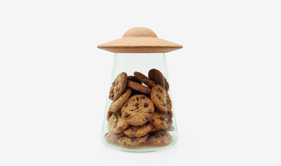 Glass UFO Cookie Jar