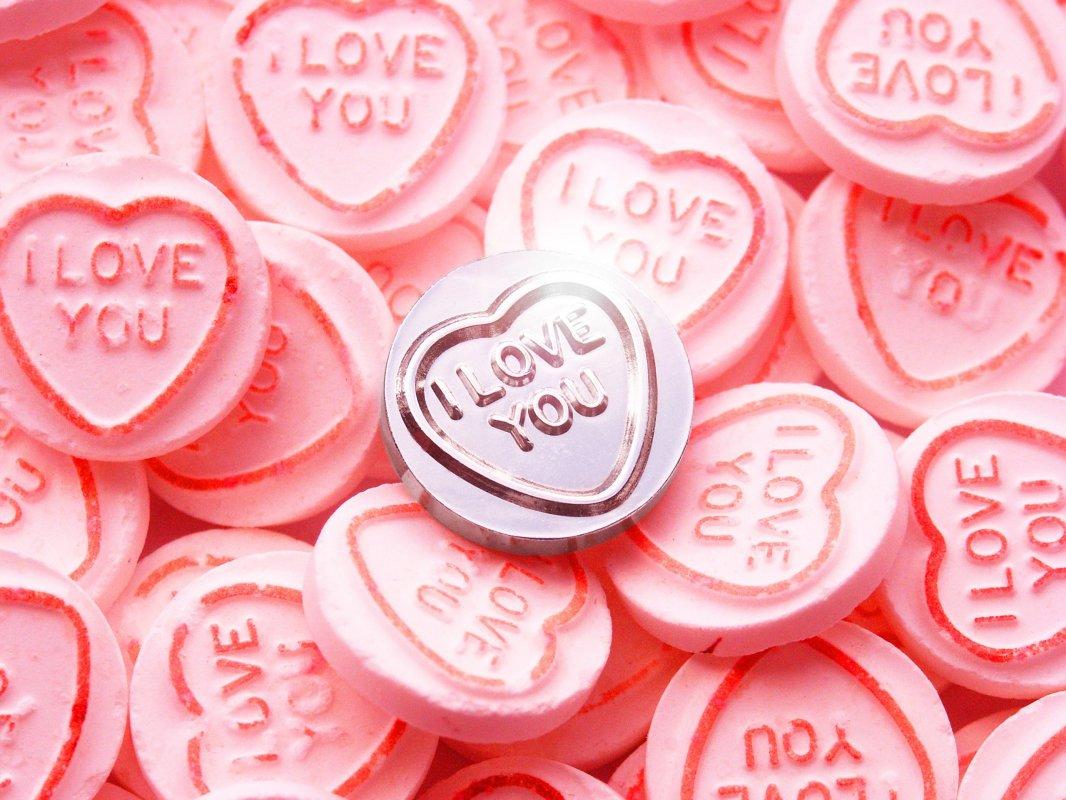 love hearts : silver replica of the classic retro sweet.