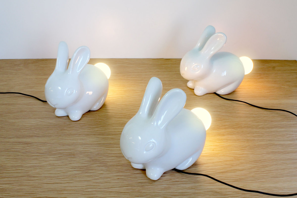 Image - Bunny Light : Porcelain White Rabbit With A Light-up Tail.