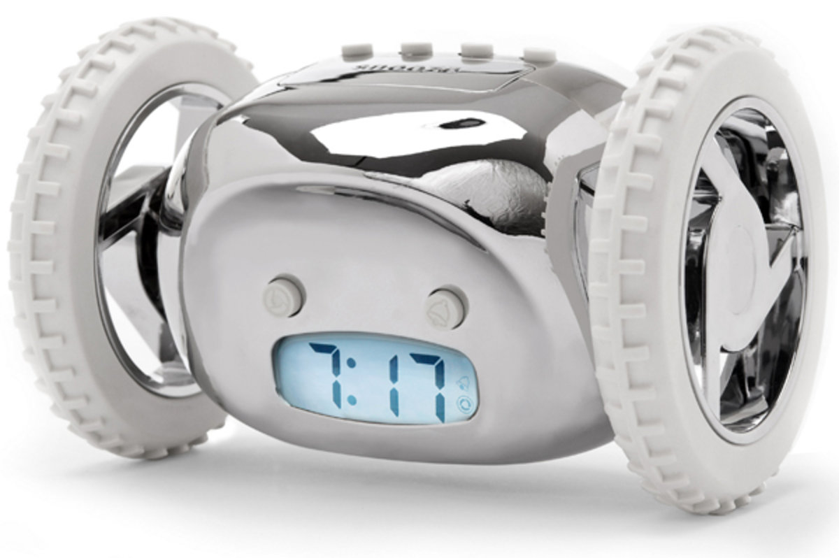 clocky alarm clock that runs away to get you up. Black Bedroom Furniture Sets. Home Design Ideas