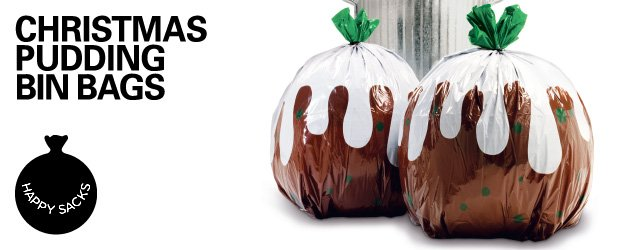 Bin bags that look like pet goldfish and Christmas Puddings