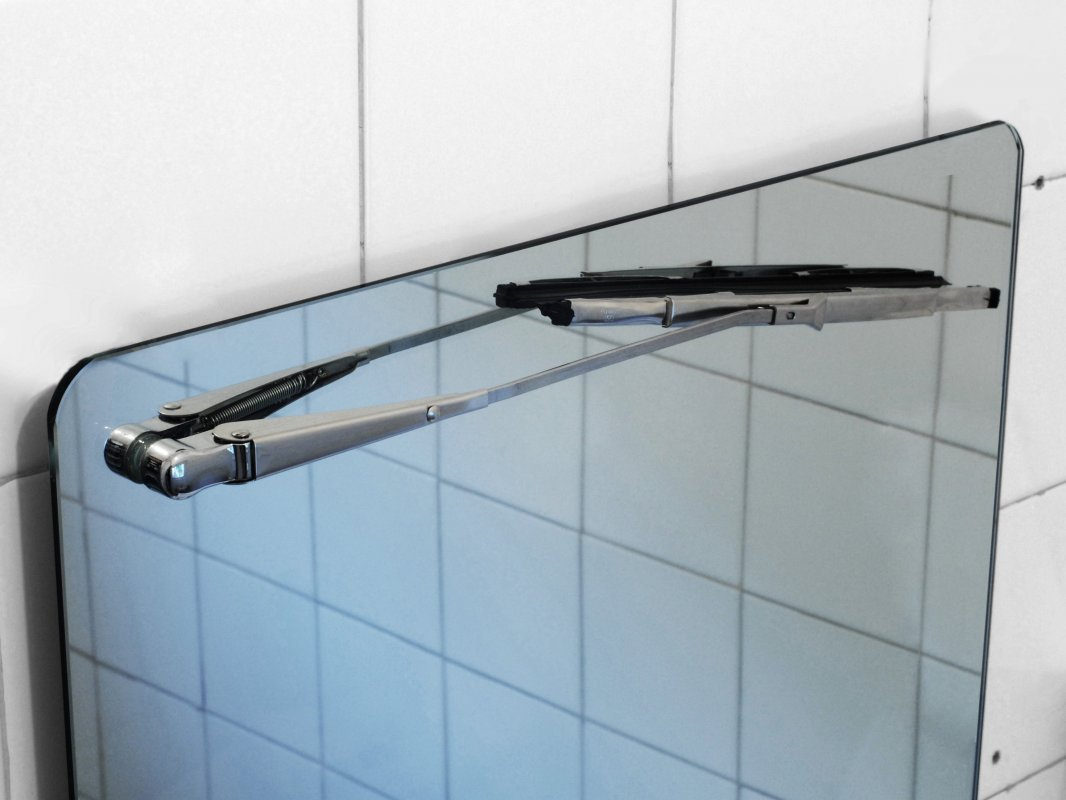 Wiper Mirror : Bathroom mirror with windscreen wiper.