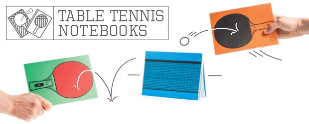 Table Tennis Notebooks Two Bats And A Net Printed Onto