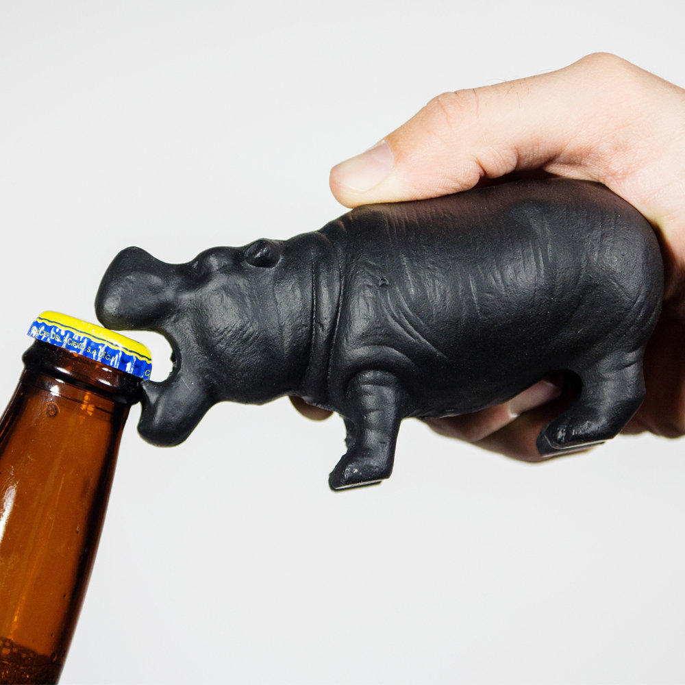 Hippo In Water Bottle Opener Fridge Magnet