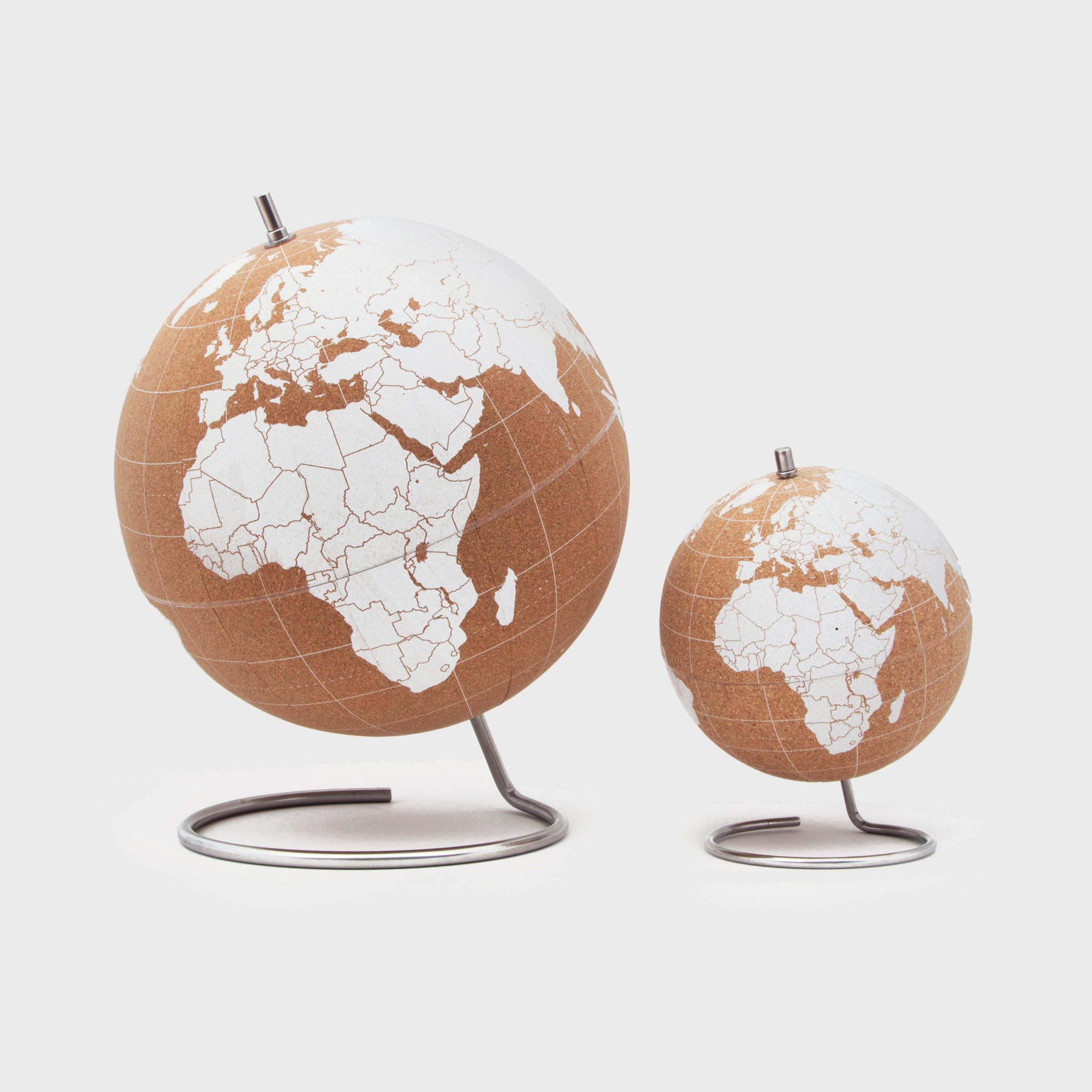 Mini World Globe Mini Wood Base Turns Decorative Tan