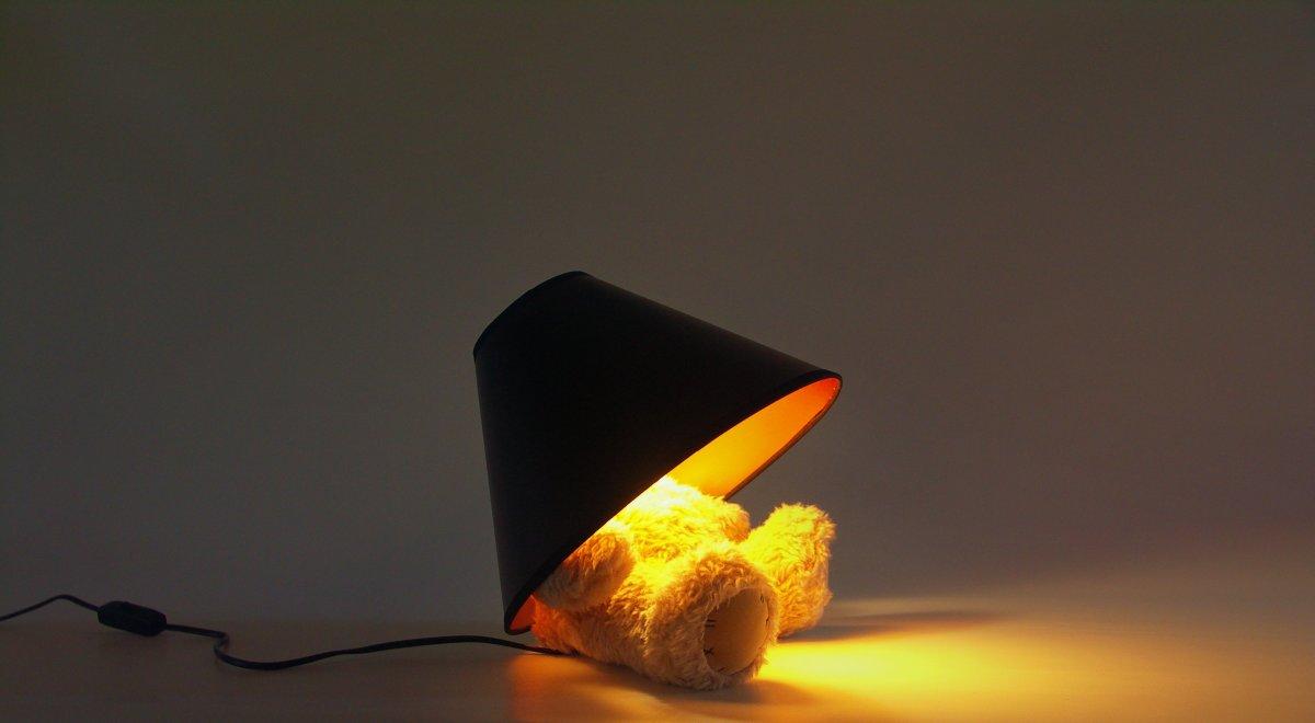 Teddy Bear Lamp : A cute teddy with a lamp for a head.