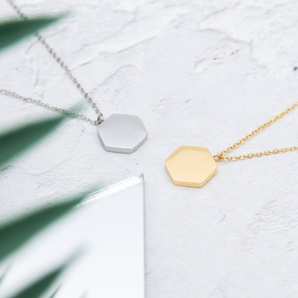 Kuku gold and silver hexagon necklaces