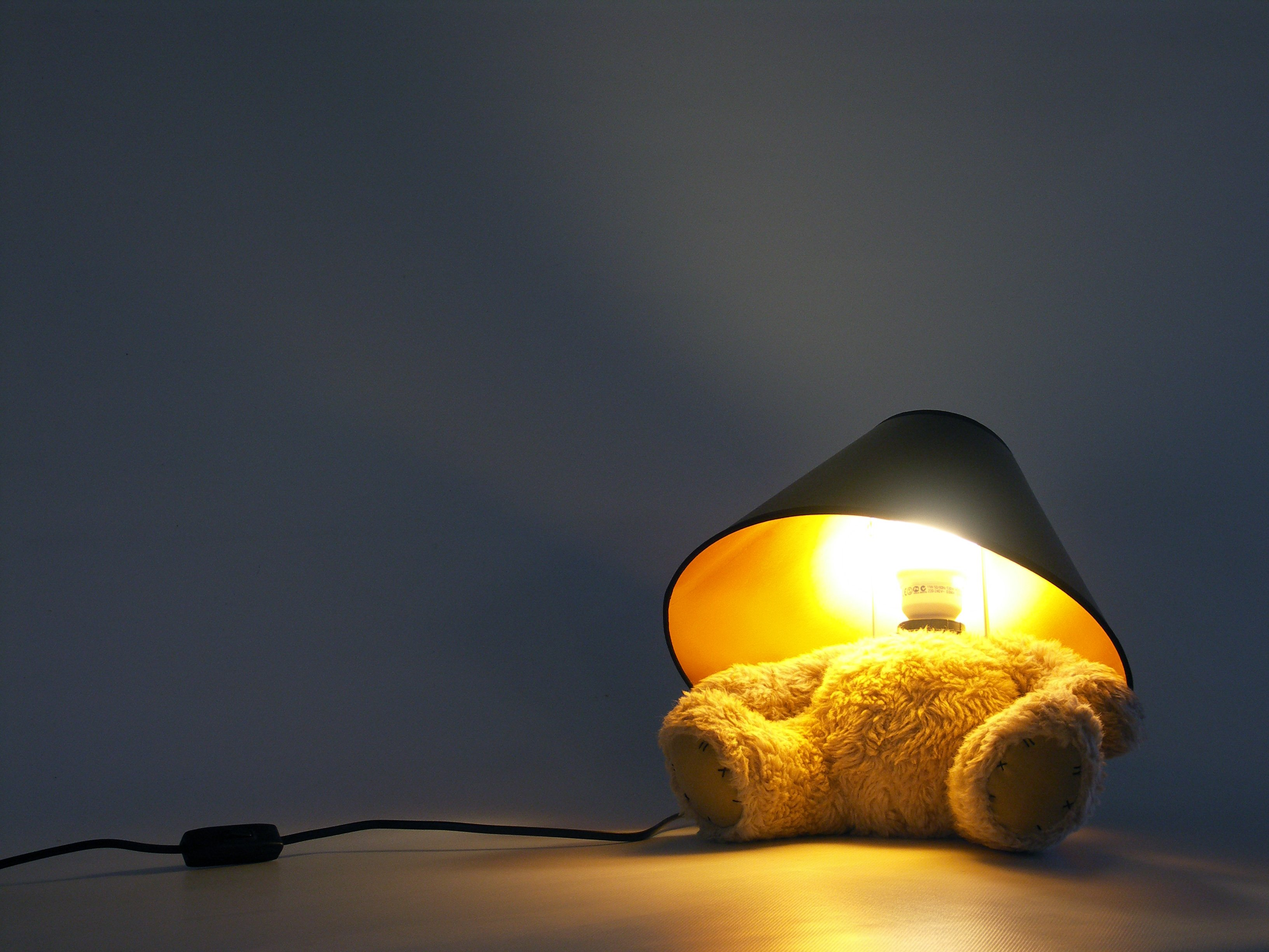 Teddy Bear Lamp Content Gallery : A cute teddy with a lamp for a head.
