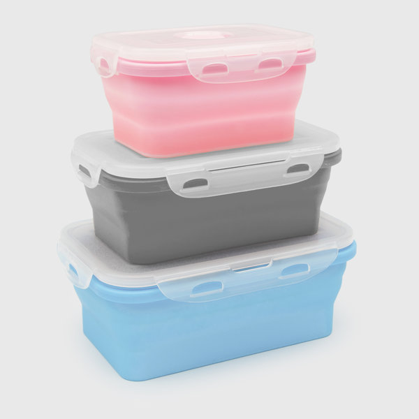 Silicone collapsible lunch boxes in a stack