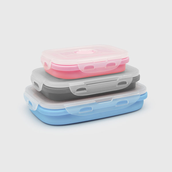 Collapsible lunchboxes in pink, grey and blue