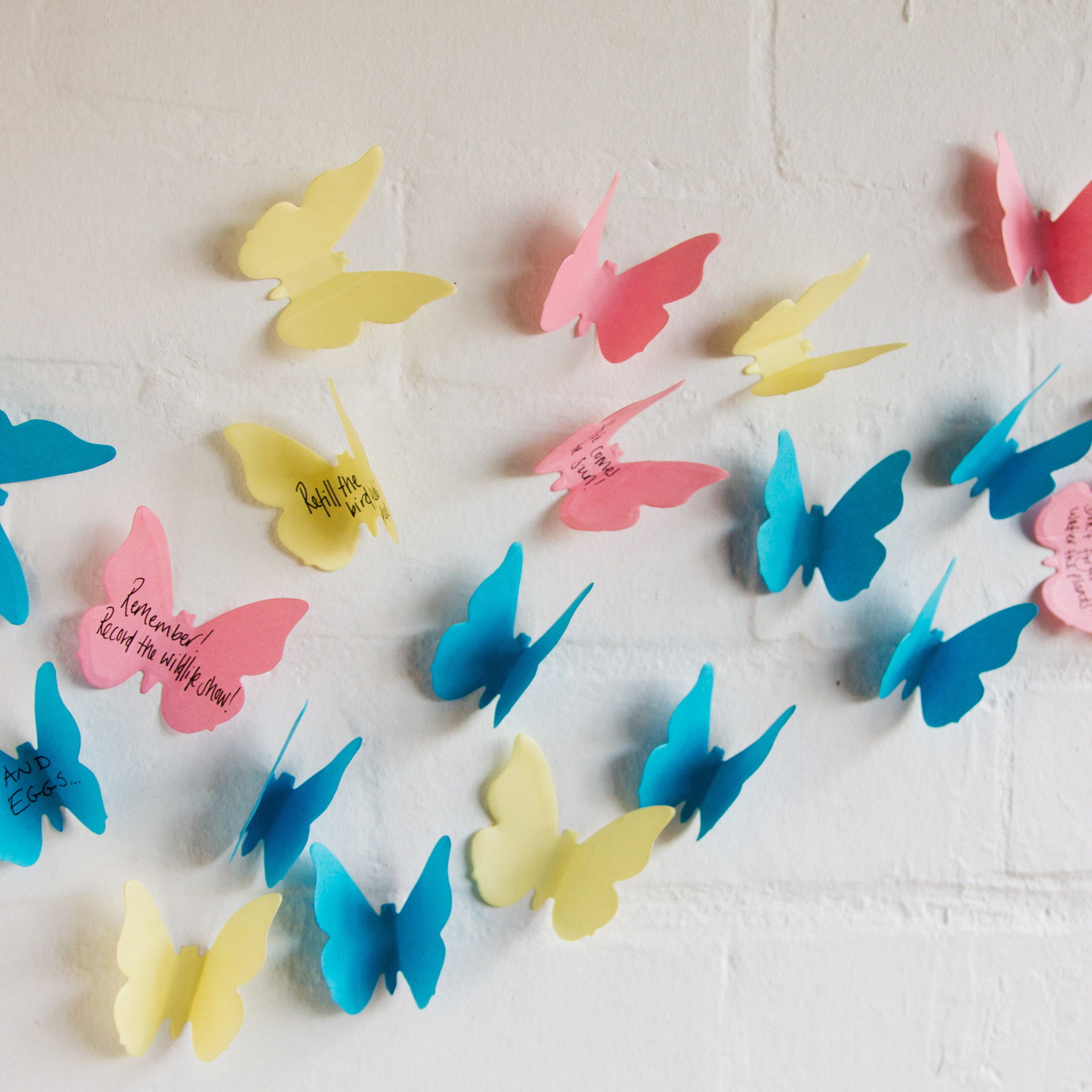 Butterfly sticky notes on a wall with memos