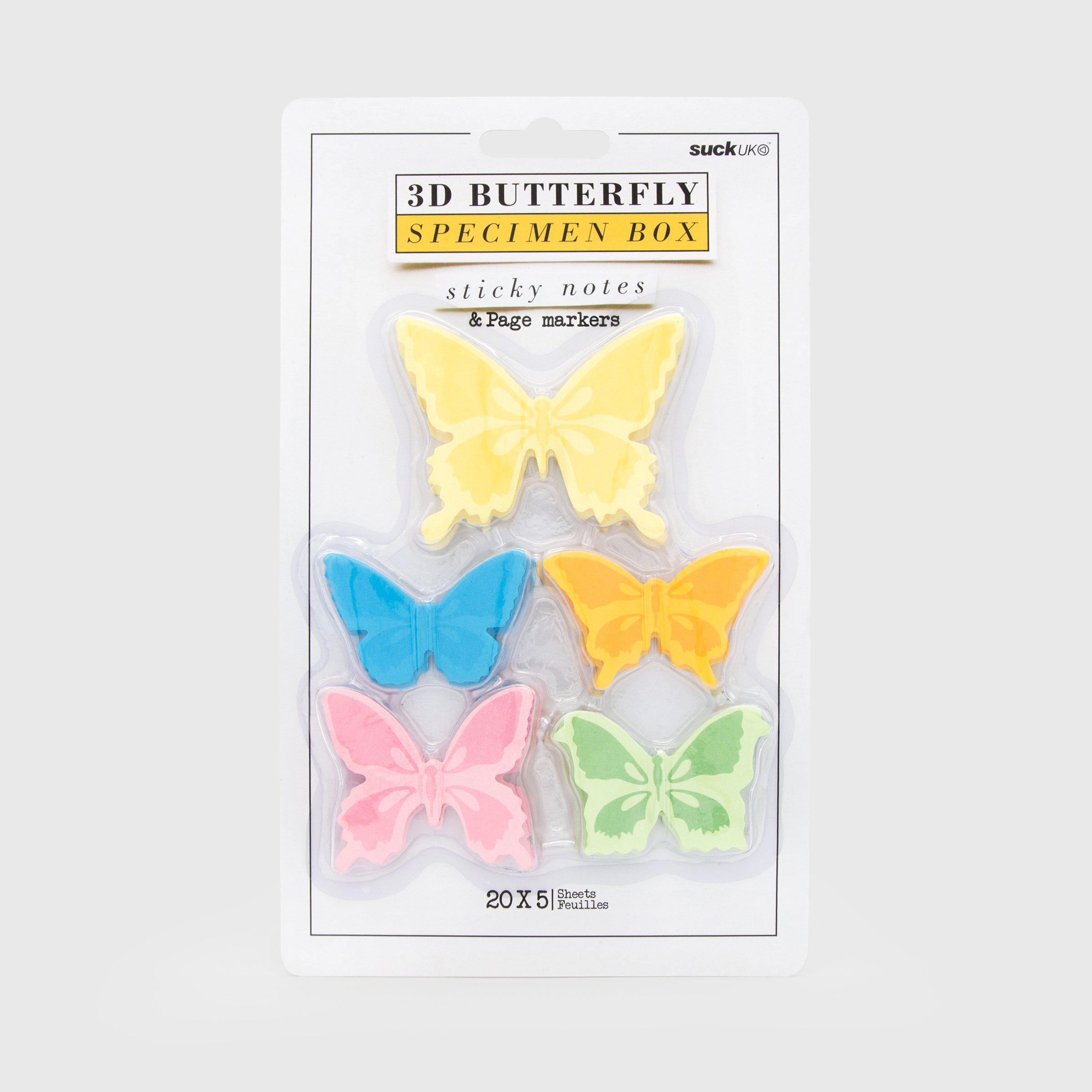 Butterfly sticky notes in specimen box style packaging