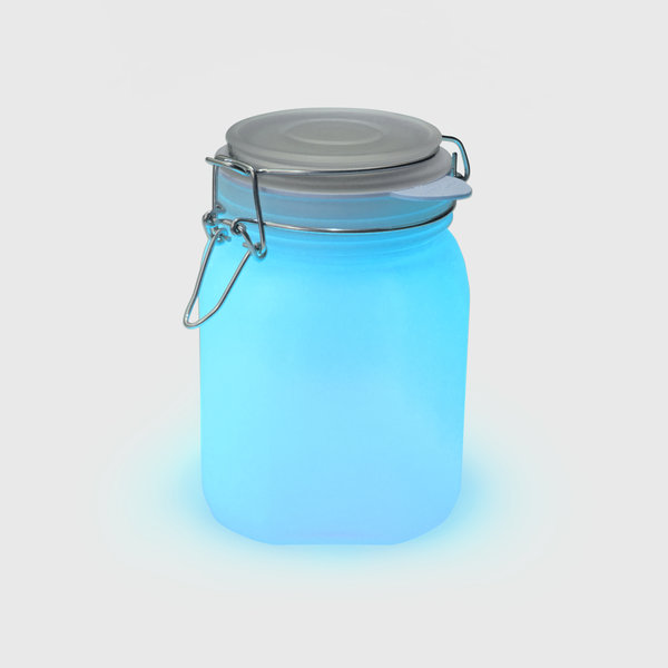 Blue solar sun light jar