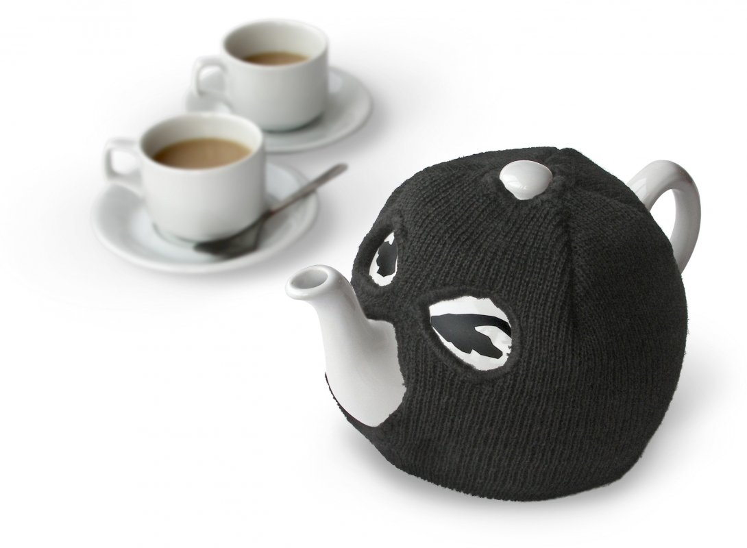 terrorist tea pot  teapot with a balaclava tea cosy - image