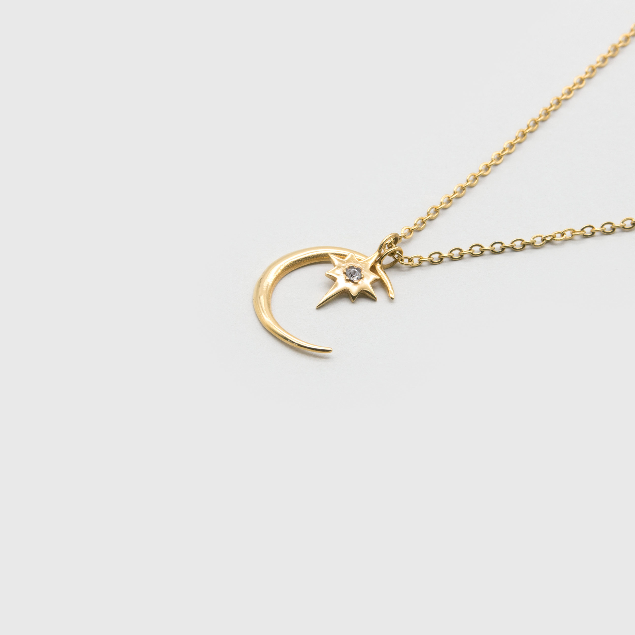 Kuku gold moon necklace with star charm