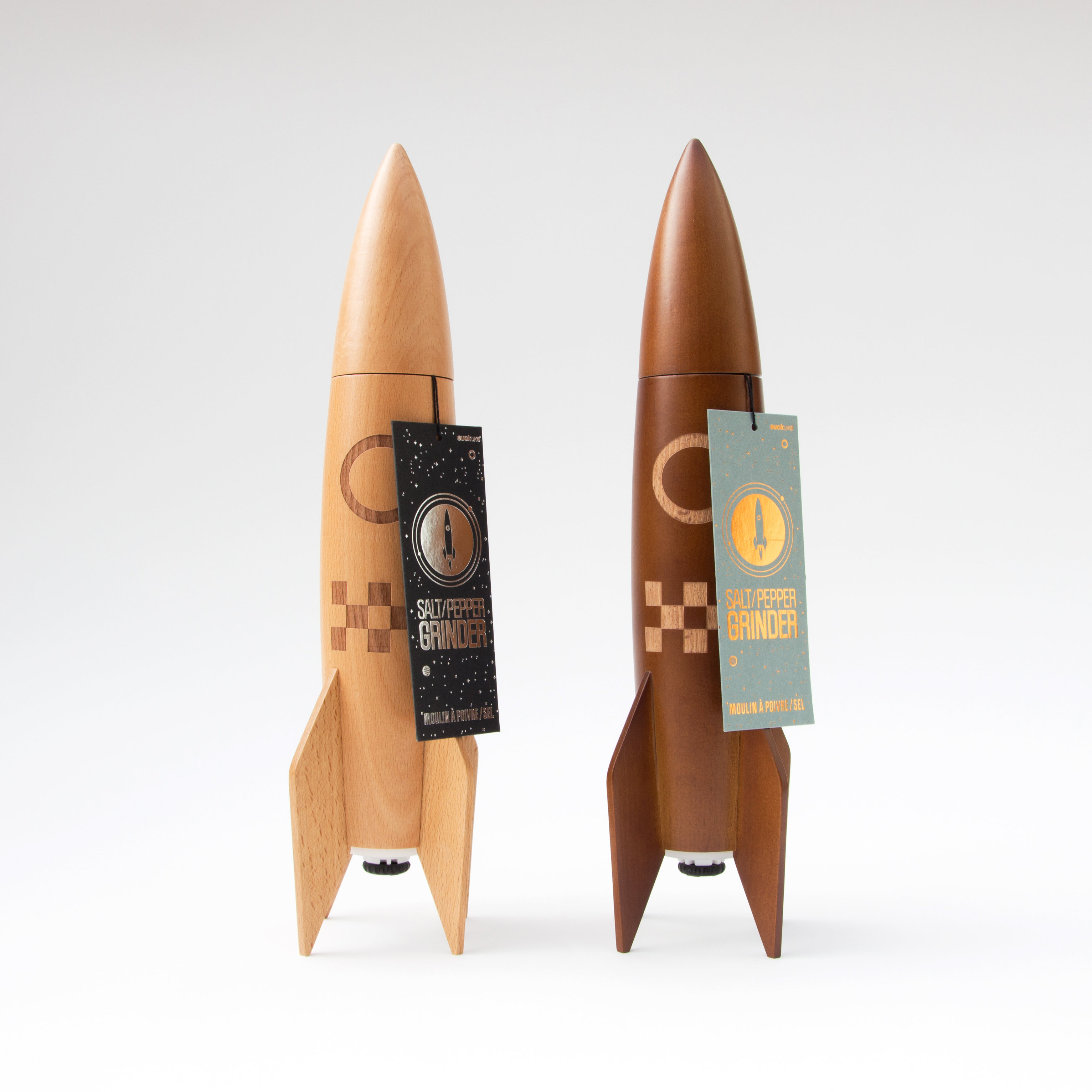 Rocket salt and pepper grinders with tags