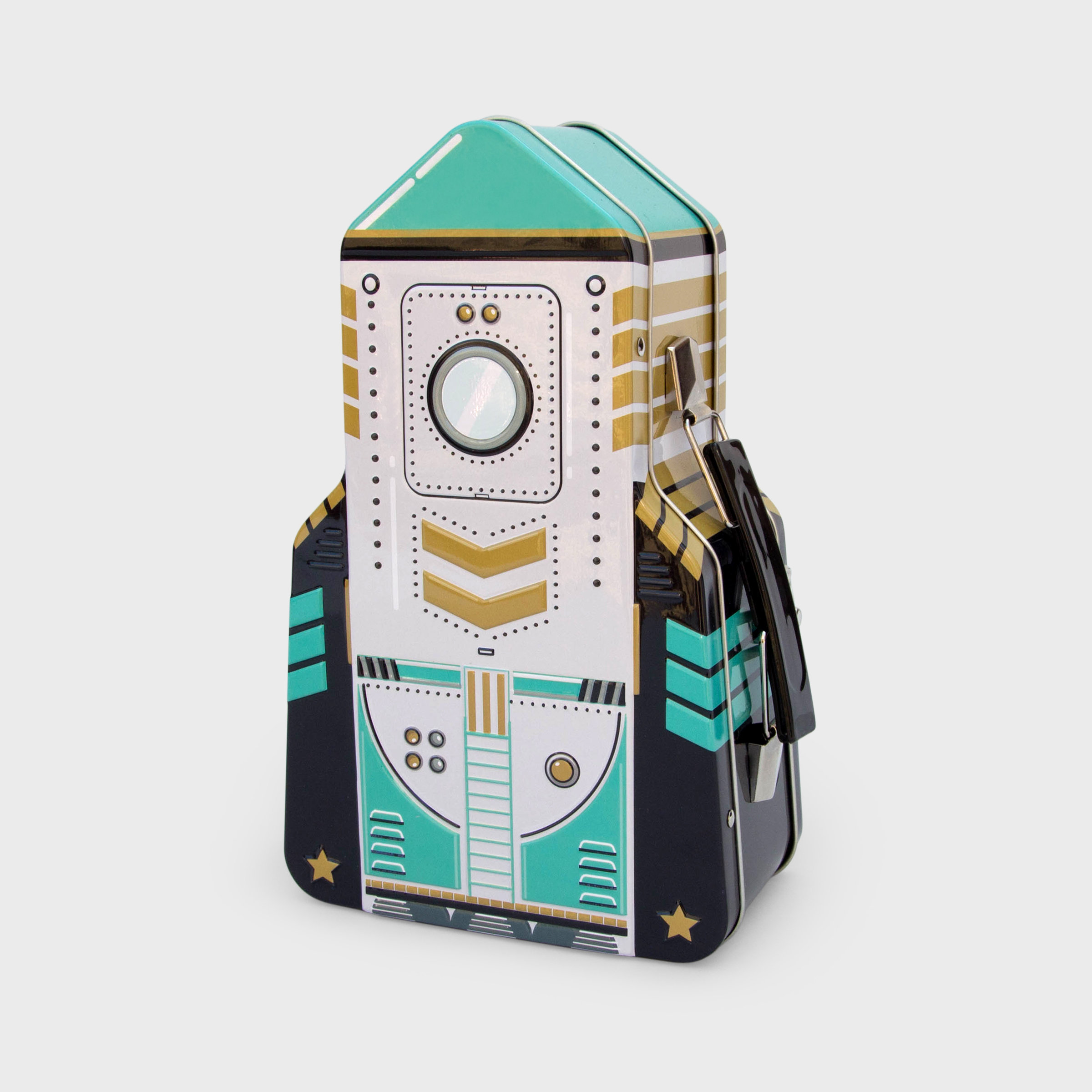 Tin rocket lunchbox in green gold and black