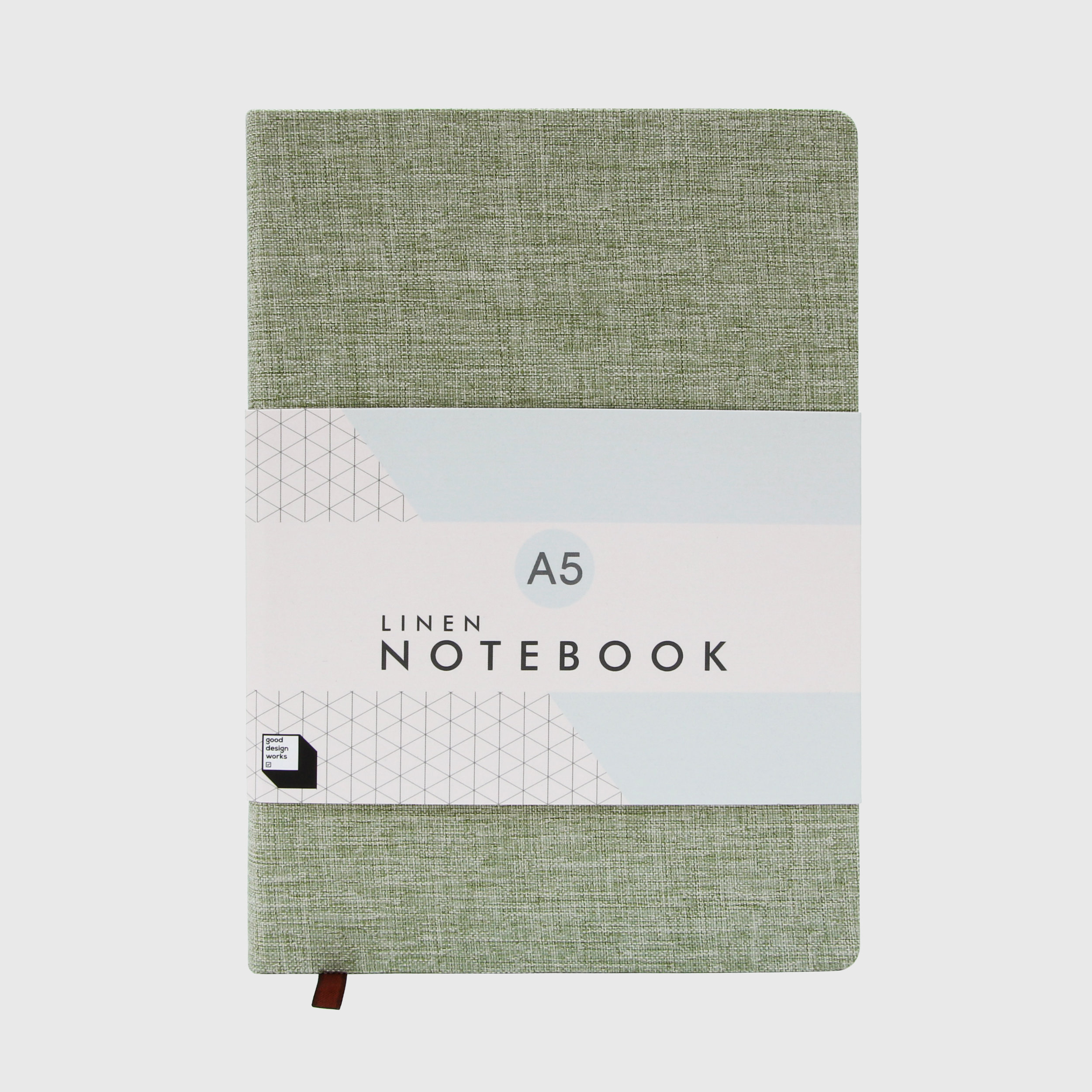 Linen covered notebook in moss