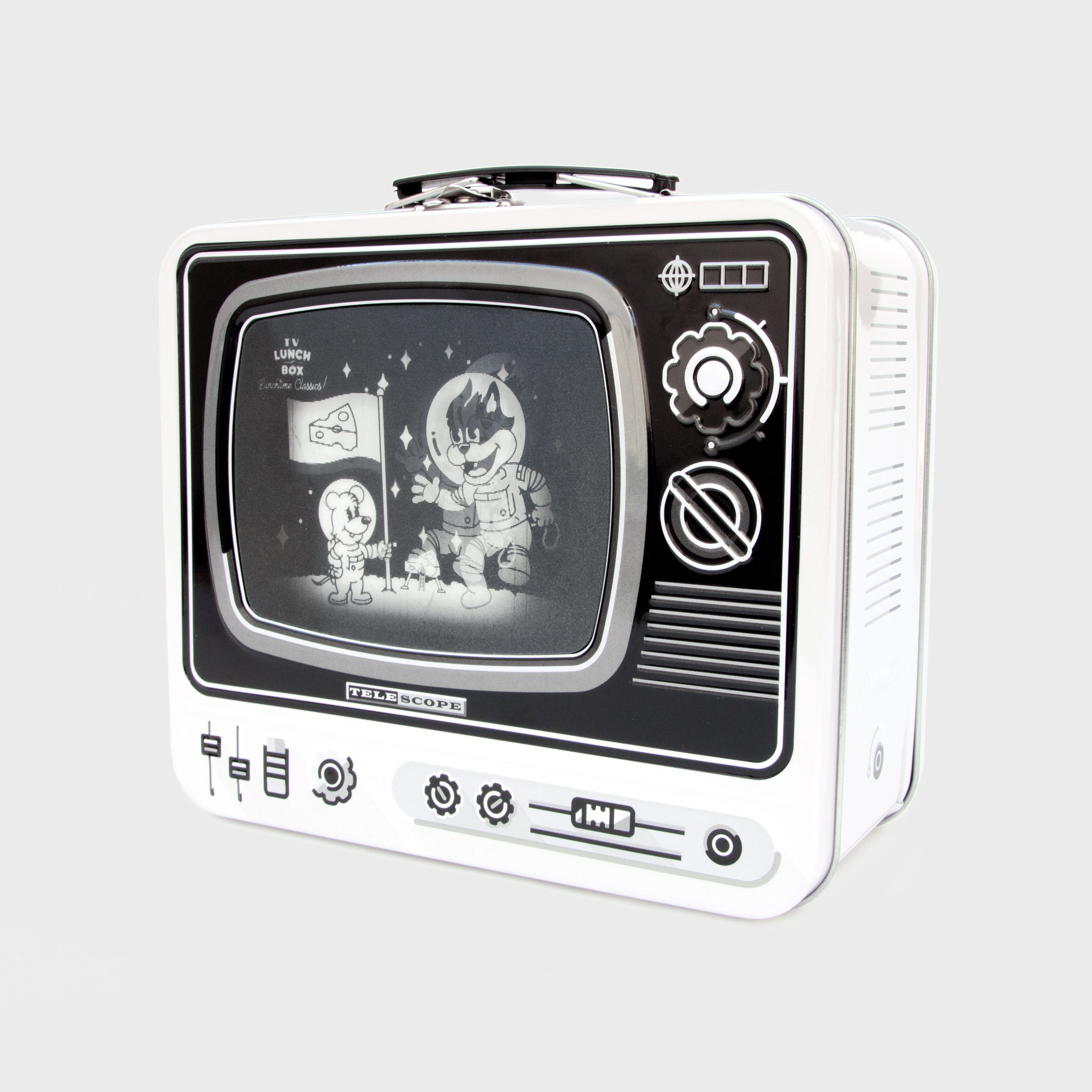 Tin TV lunchbox in white with magic screen